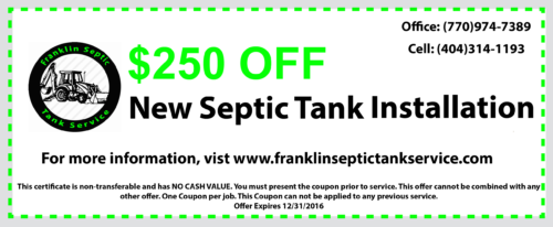 250 off new septic installation