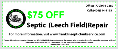 Septic Leech field repair coupon